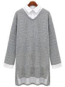 Grey Knittet Contrast Collar High Low Dress