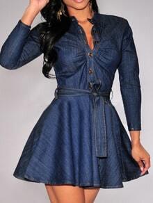 Blue Long Sleeve Buttons Denim Flare Dress