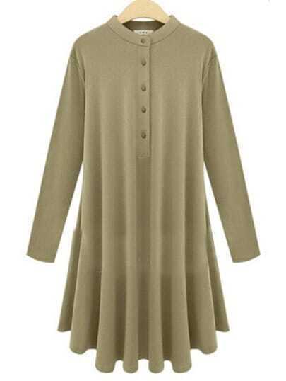 Khaki Long Sleeve Buttons Pleated Dress