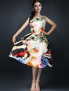 Multicolor Sleeveless Abstract Print Flare Dress