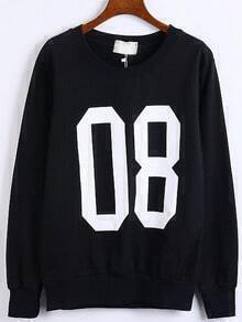 Black Round Neck Number Print Sweatshirt