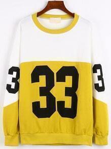 Yellow Round Neck Number Print Sweatshirt