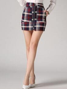 Red Plaid Zipper Bodycon Skirt