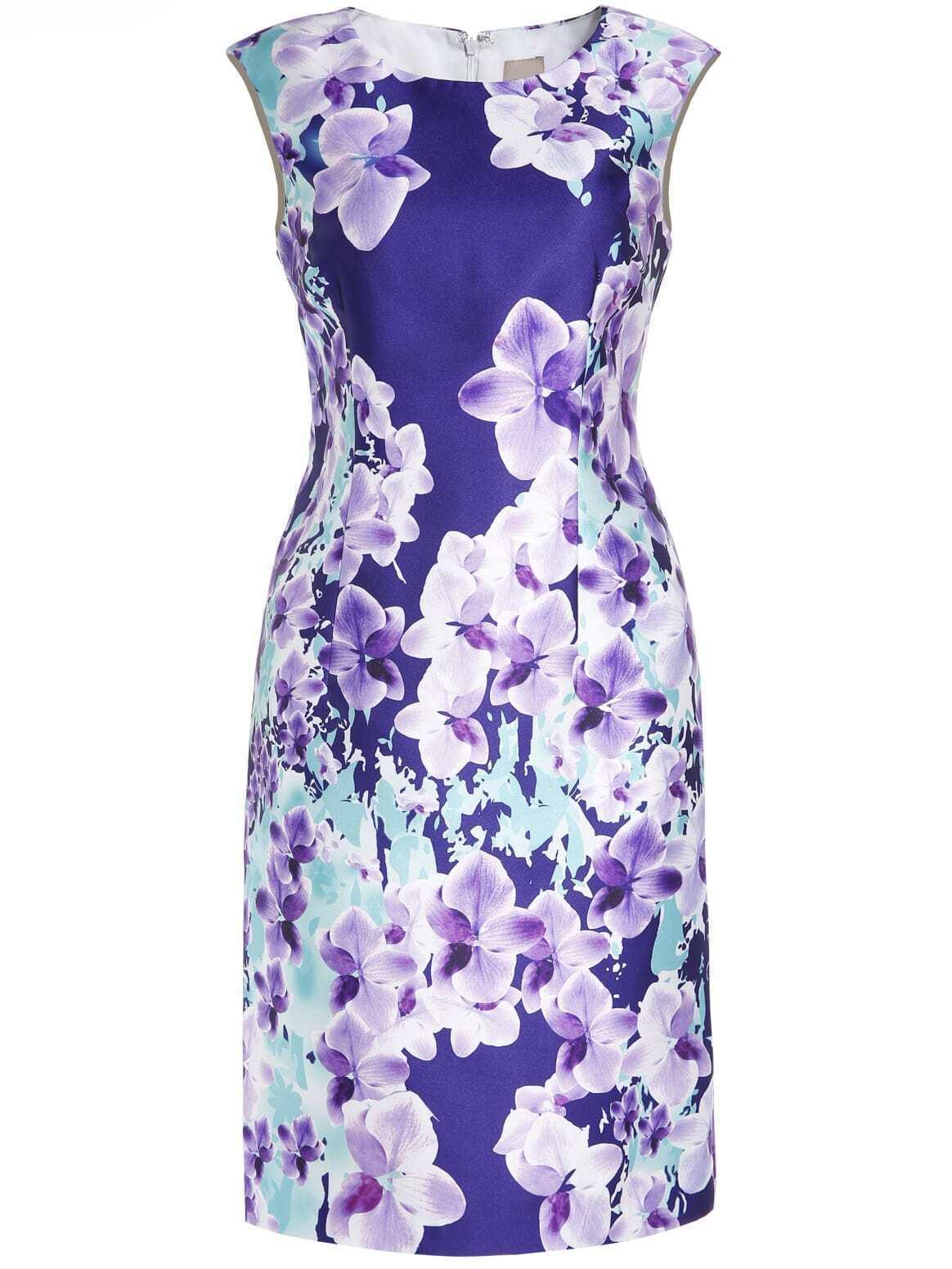 Purple Round Neck Sleeveless Floral Print Dress