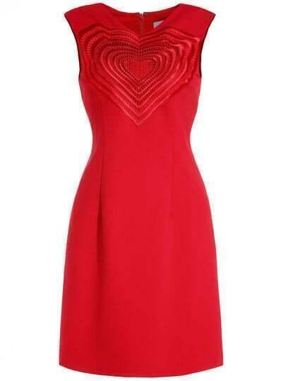 Red V Neck Sleeveless Hollow Heart Dress
