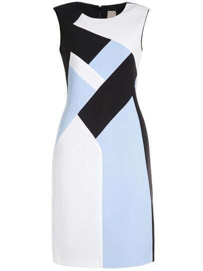 Black White Round Neck Sleeveless Bodycon Dress