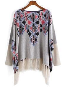 Grey Long Sleeve Vintage Print Tassel Sweater