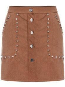 Khaki Rivet Studs Buttons Skirt