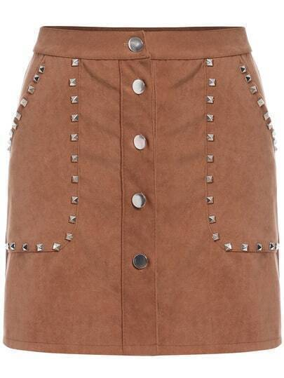 Khaki Rivet Studs Buttons Skirt