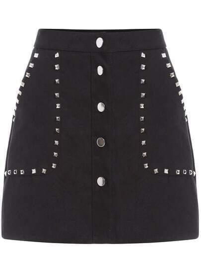 Black Rivet Studs Buttons Skirt