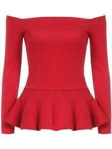 Red Boat Neck Ruffle Shirred Slim Top