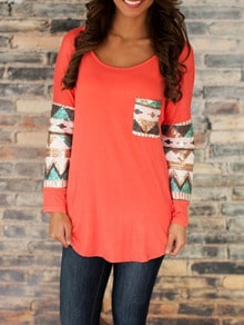 Orange Round Neck Sequined Pocket T-Shirt