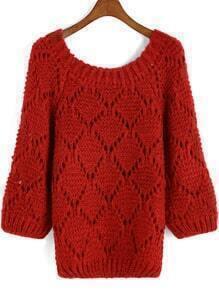 Red Hollow Diamond Pattern Knit Sweater