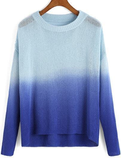 Blue Ombre Round Neck Dip Hem Sweater