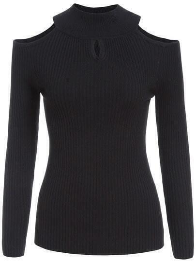 Black Off the Shoulder Slim Knit Sweater
