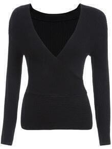 Black V Neck Cross Front Knit Sweater