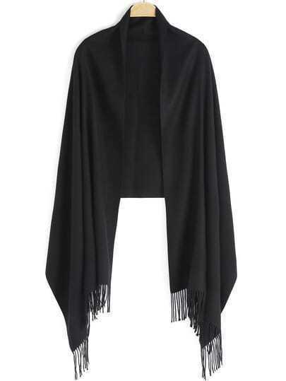 Black Vintage Tassel Scarve