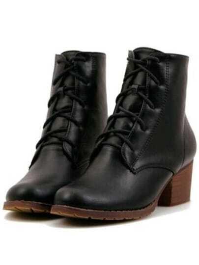Black Chunky Heel Bandage PU Boots