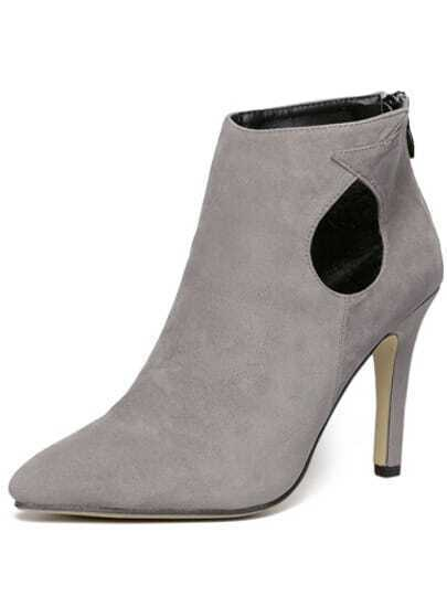 Grey High Heel Hollow Boots