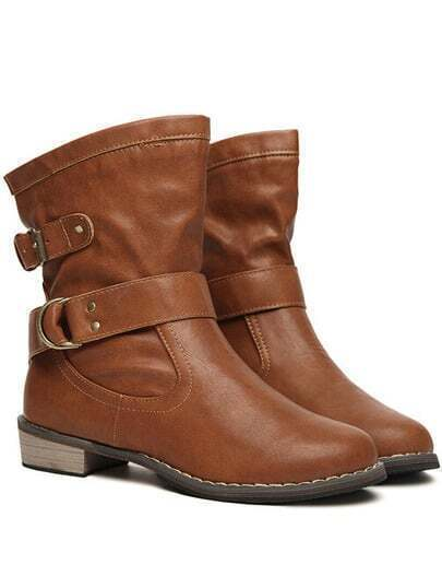 Brown Buckle Strap Chunky Heel Boots