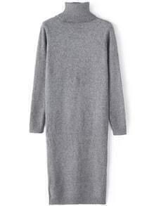 Grey High Neck Long Knit Sweater