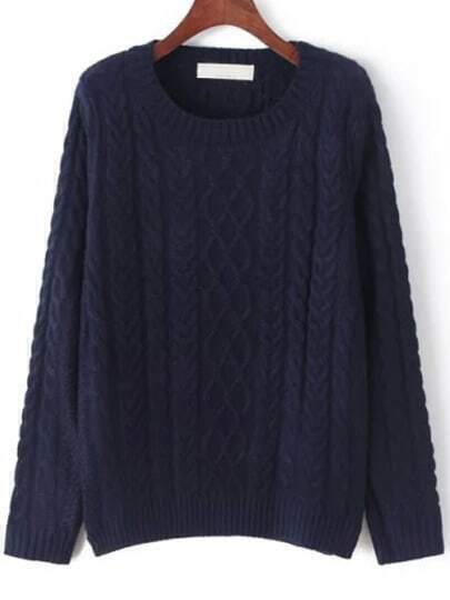 Navy Round Neck Cable Knit Sweater