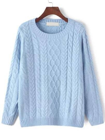 Blue Round Neck Cable Knit Sweater