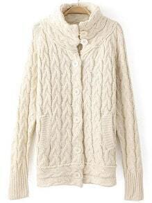 Beige High Neck Buttons Cable Knit Sweater