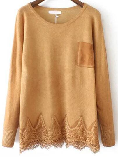 Yellow Round Neck Lace Hem Loose Sweater