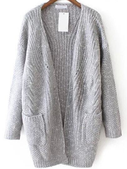 Grey Casual Pockets Loose Knit Cardigan