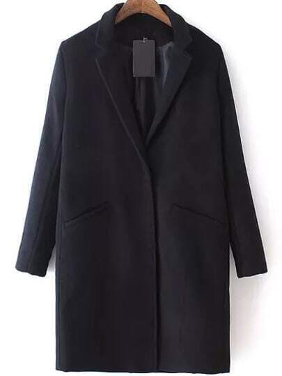 Black Notch Lapel Fashion Woolen Coat