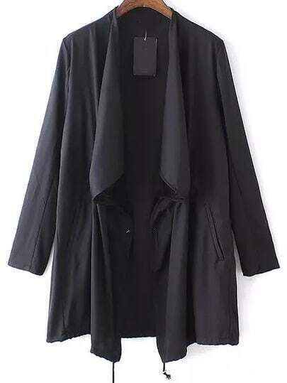 Black Long Sleeve Loose Casual Coat