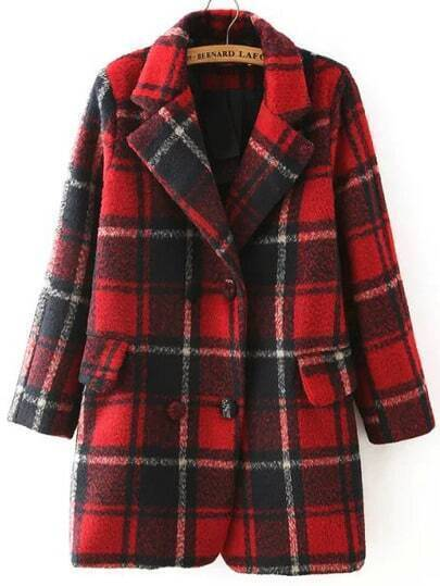 Red Black Lapel Plaid Double Breasted Coat