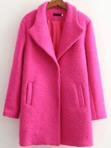 Rose Red Lapel Pockets Covered Button Coat