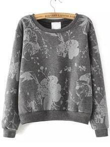 Grey Round Neck Floral Crop Sweatshirt