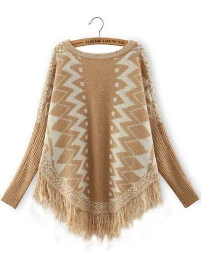 Yellow White Geometric Print Batwing Tassel Sweater