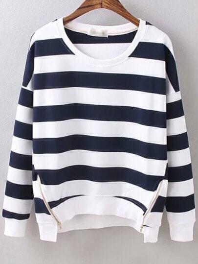 Navy White Round Neck Striped Zipper Sweatshirt