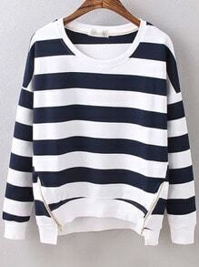 Navy White Round Neck Striped Zipper Sweatshirt
