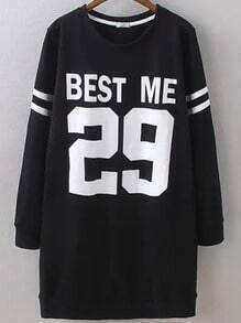 Black Round Neck Letters 29 Print Sweatshirt