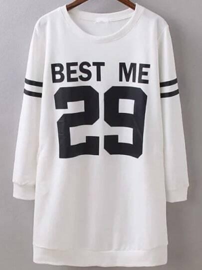 White Round Neck Letters 29 Print Sweatshirt
