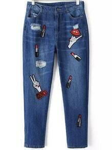 Blue Ripped Lipstick Hand Embroidered Denim Pant