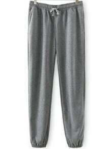 Grey Drawstring Waist Loose Pant