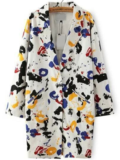 Multicolor Lapel Graffiti Print Loose Blazer