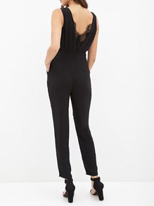 Black Sleeveless With Lace Jumpsuit