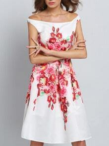 White Challis Lovely Adorable Amazing Pop Popular Glamor Off The Shoulder Boatneck Flowery Floral Dress