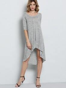 Grey Half Sleeve Hearts High Low Charcoal Dress