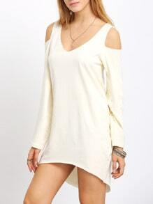 Apricot Inch Hipster Pima Long Sleeve Cold Shoulder Dress