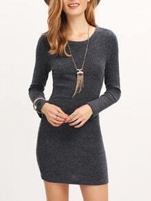 Grey Long Sleeve Bodycon Dress