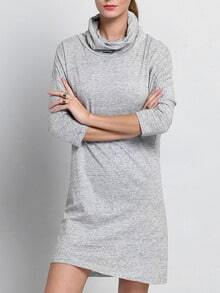 Grey Textured Dolman Long Sleeve Mock Neck Allure Decent Casual Dress