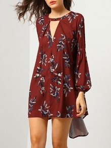 Wine Red Baggy Long Sleeve Floral Flowery Dress